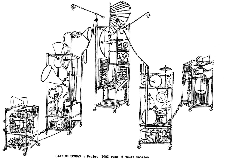 Bombyx : dessin trait noir sur fond blanc, détaillant 5 machines musicales à cordes tours sur roulettes , à percussions, à vent et à à lames percutées avec une tour de commande, son, lumières et télécommandes, elle aussi mobile.
