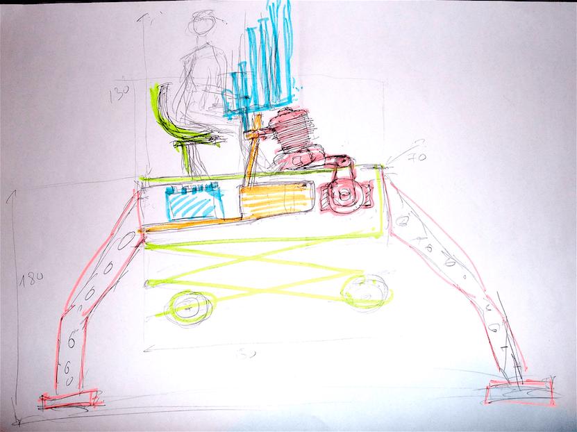 Dessin coloré Motorg sur pied avec système élévateur zigzag