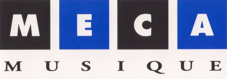 Lettres M E C A dans carré bleu et noir, musique simple typographie noire en dessous