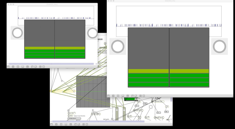 Copie écran montrant les fenêtres que le public peut voir et dessous une partie des algorithmes graphiques.