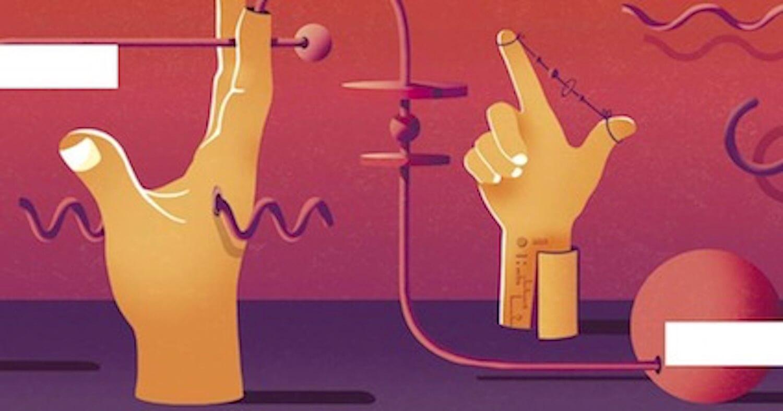 Desin avec 2 mains et des symboles graphiques