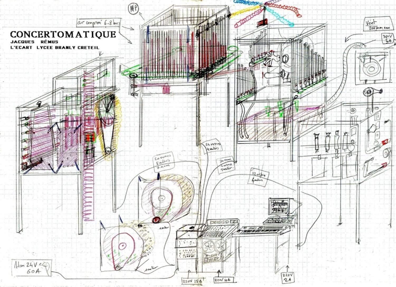 Dessin sur fond quadrillé de 4 machines carrées, 2 machines cylindriques + electronique, informatique de commande