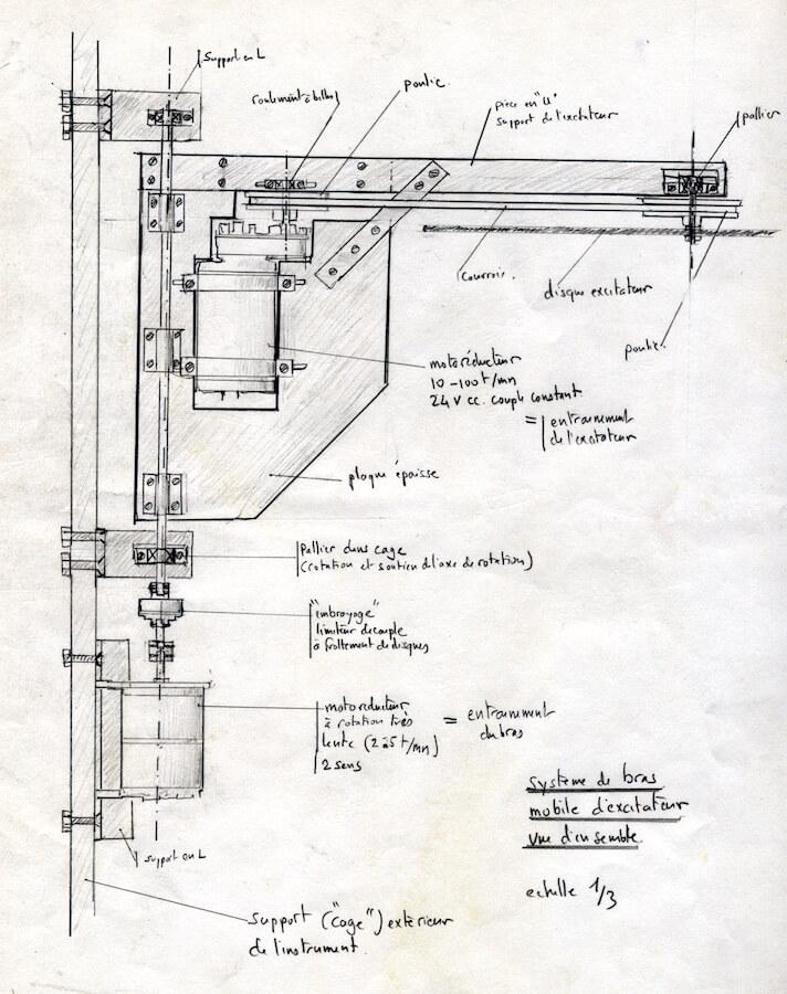 Dessin annoté montrant l'articulation d'un bras de machine avec 2 moteurs