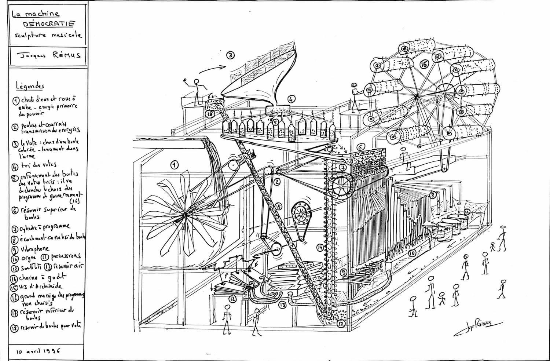 Dessin en noir et blanc avec commentaires, montrant une grosse machinerie fonctionnant avec des boules servant une machine à voter et un ensemble d'instruments de musique mécanique