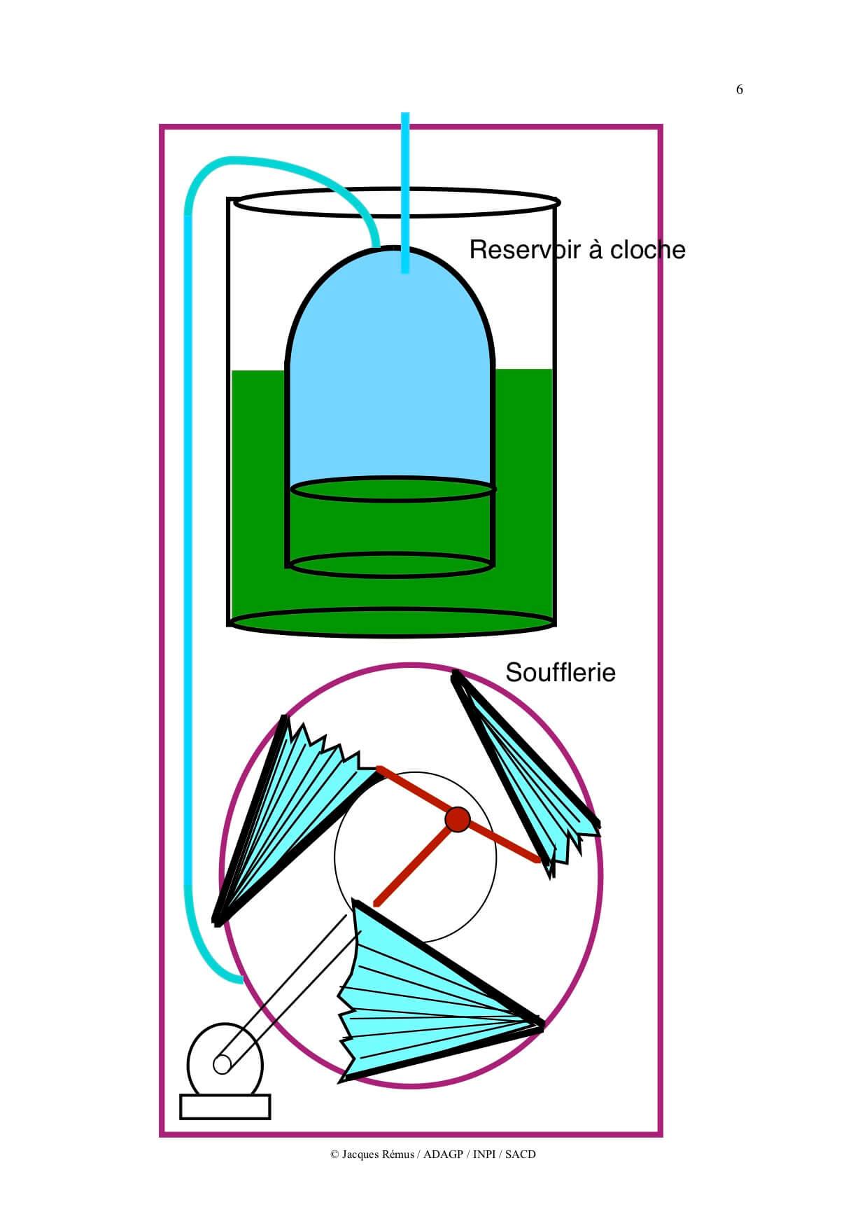 Dessin en couleur fait à l'ordinateur montrant une cloche immergée surmontant une soufflerie triangulaire