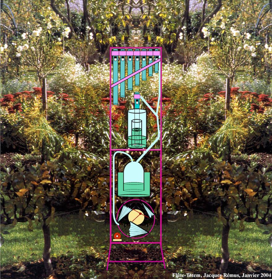 Sur fond de jardin photographié, dessin en couleur fait à l'ordinateur montrant une petite tour assemblant une soufflerie triangulaire, puis un réservoir d'air à cloche, puis une flûte immergée, puis une flûte de Pan