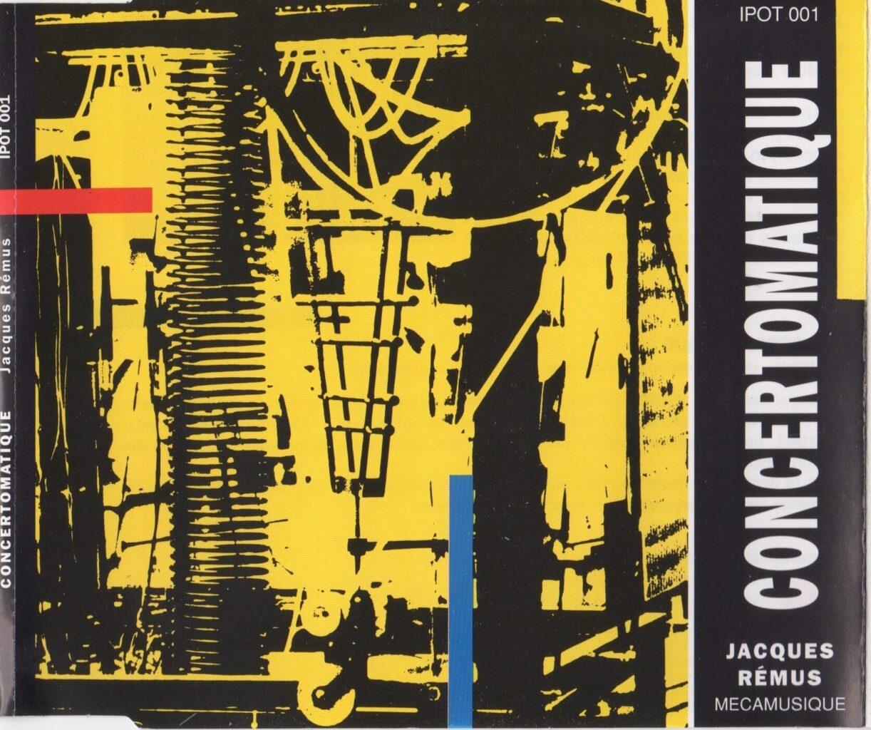 Image montrant machines sur fond jaune et titre vertical sur la droite