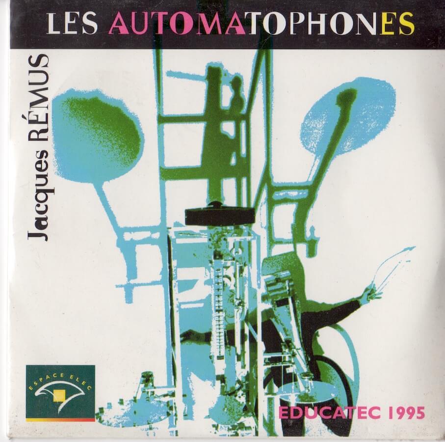 Pochette disque avec nom Les Automatophones avec image homme masqué avec sculpture musicale