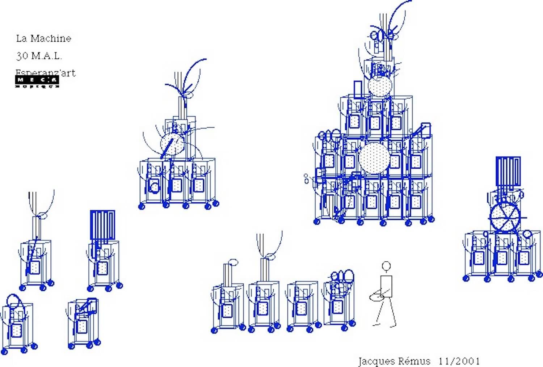 Dessin bleu sur fond blanc , groupes de machines à laver avec un petit personnage