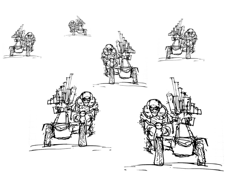 Dessin Motorgs Side-car : vue de face, en perpective, 6 motocyclistes portent un petit orgue à gros tuyaux dans leur side-car