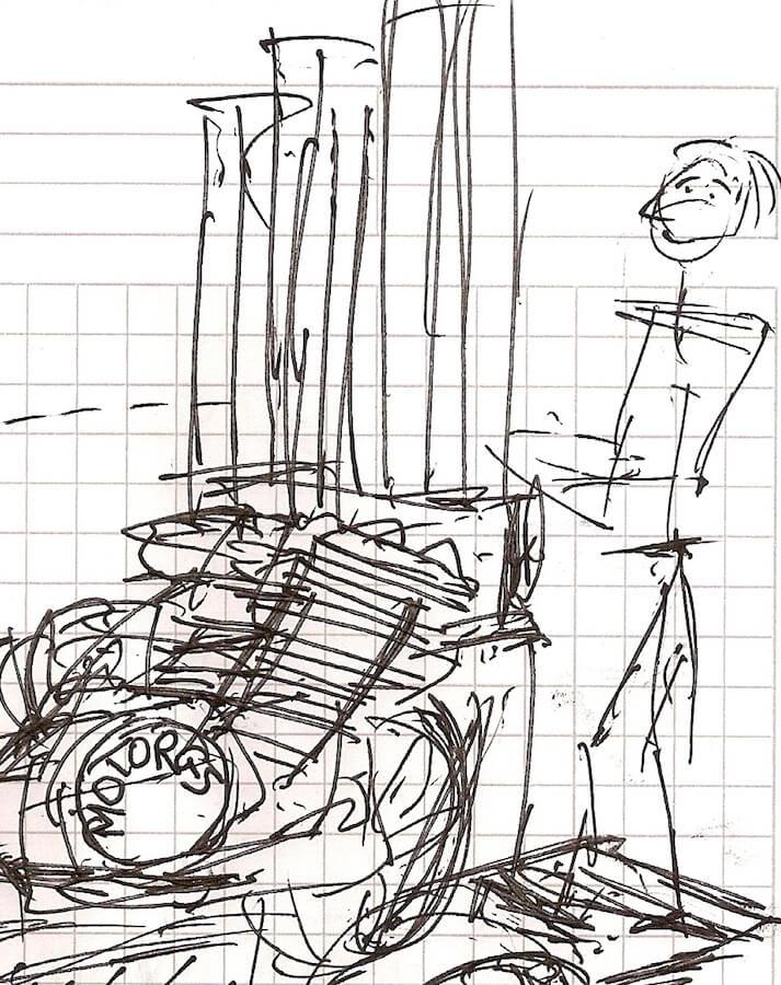 Dessin sur fond de papier quadrillé d'un musicien debout qui manipule un Motorg avec ses tuyaux verticaux