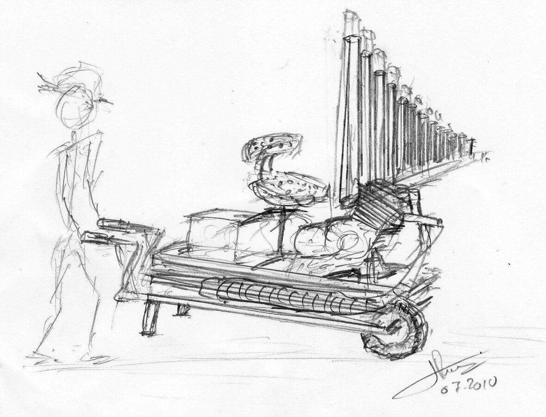 Dessin schéma montrant un personnage poussant une brouette sur la quelle est installée un siège devant un jeu d'orgue au dessus d'un moteur