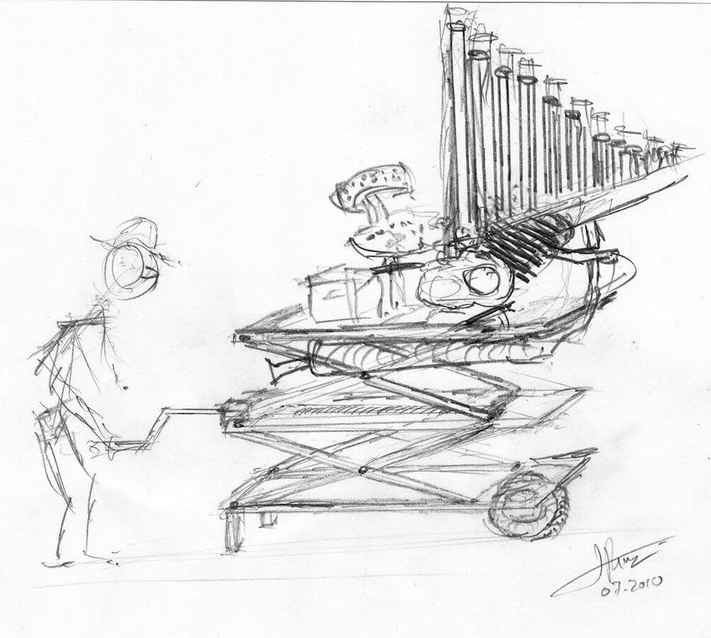 Dessin montrant un perssonage qui fait monter une structure avec une manivelle. Sur un plateau un siège devant un jeu d'orgue au dessus d'un moteur