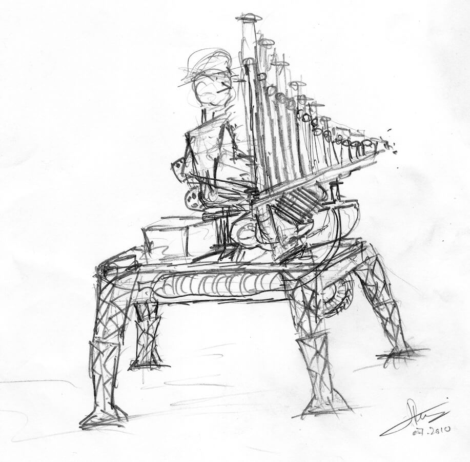 Dessin schéma montrant, perché sur 4 pattes, un personnage assis sur un siège devant un jeu d'orgue au dessus d'un moteur