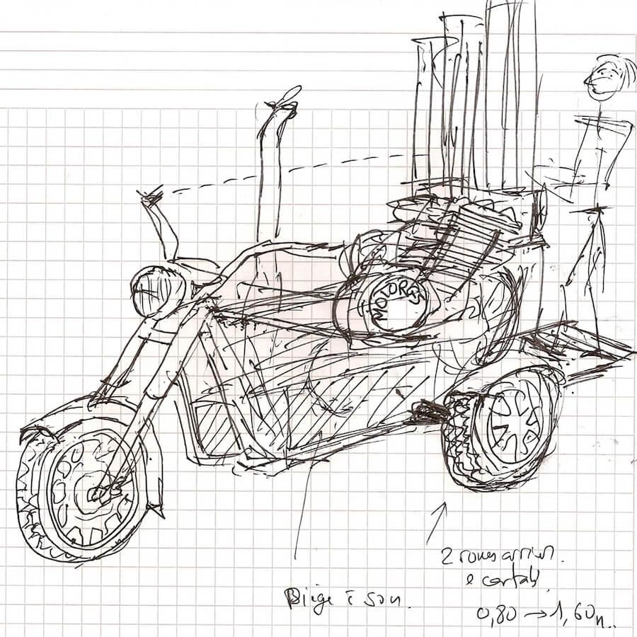 Dessin sur fond papier de quadrillé d'une motocyclette tricycle avec un musicien debout qui manipule un Motorg avec ses tuyaux verticaux
