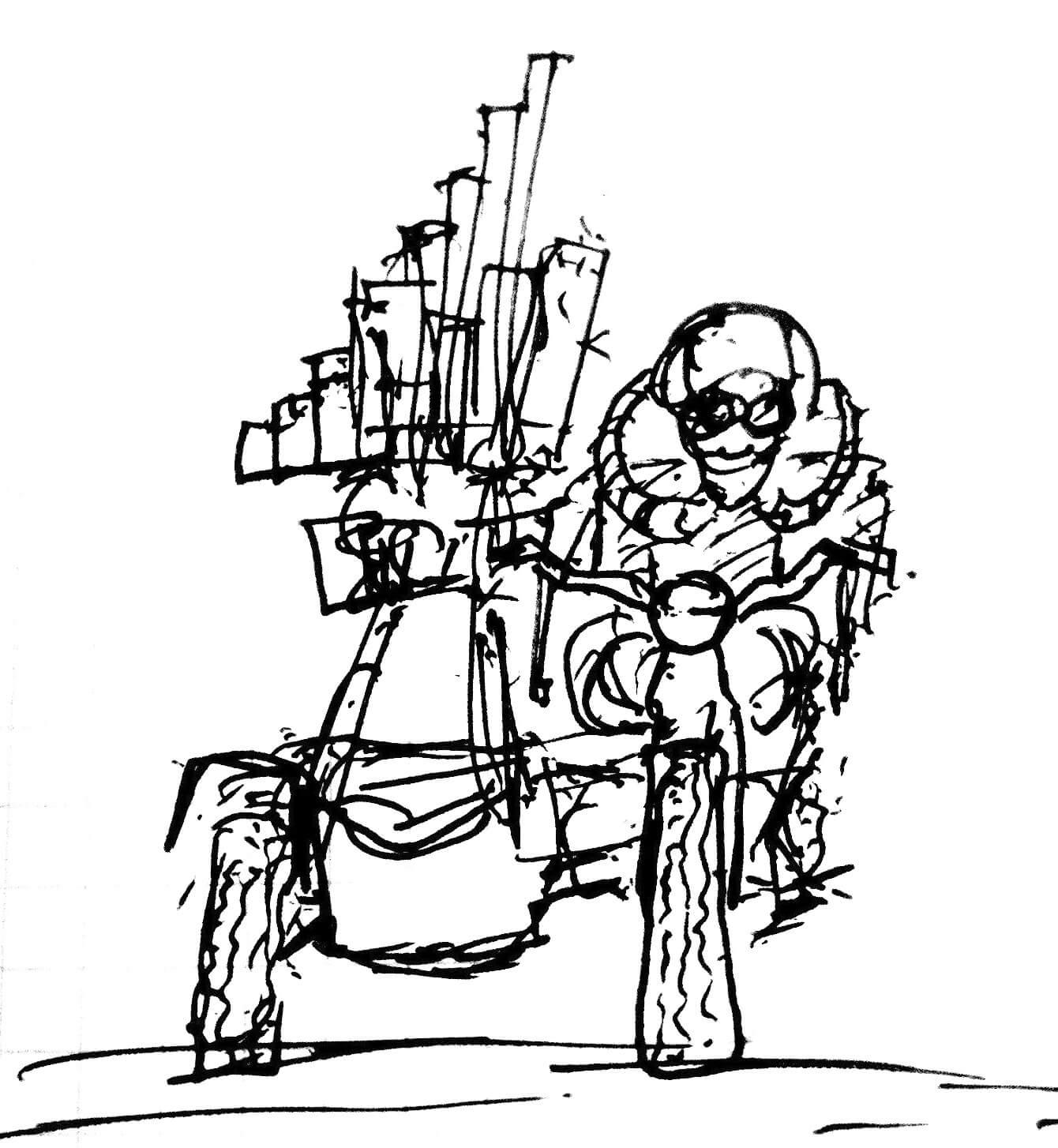 Dessin Motorgs Side-car : vue de face un motocycliste porte un petit orgue à gros tuyaux dans le side-car