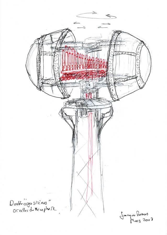 Dessin en couleur montrant un double jeu de trompes de camion et de sifflets de bateau à vapeur (calliope) en haut d'une tour et entouré de deux demi-sphères rivetées