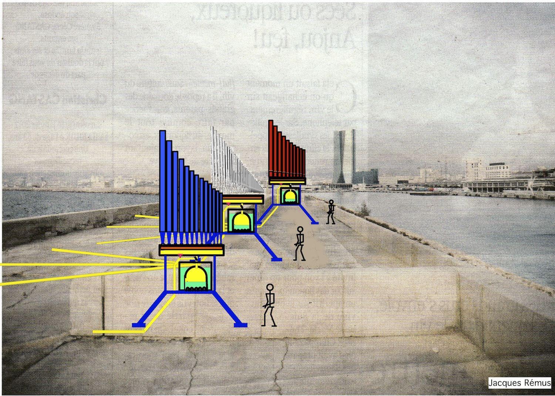 Sur fond de photo dans le port de Marseille, dessin sen couleur fait à l'ordinateur montrant une installation hydraulique de 3 orgues , bleu , gris et rouge, alimentés par des vagues