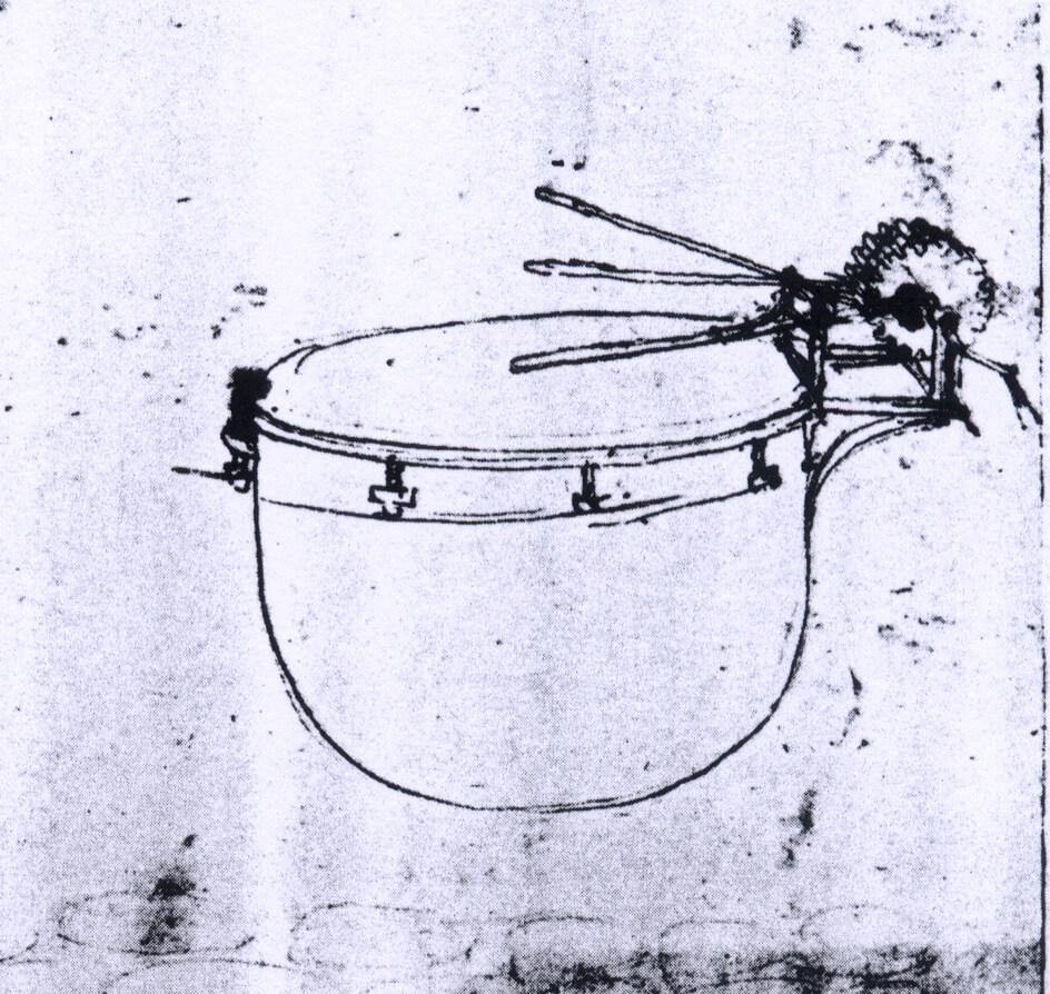 Dessin tambour à caisse hémisphérique excité par 3 baguettes animées par mécanisme à engrenages