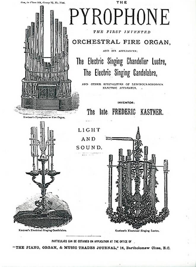 Publicité Noir et Blanc dans un journal anglais pour les inventions de Frederic Kastner