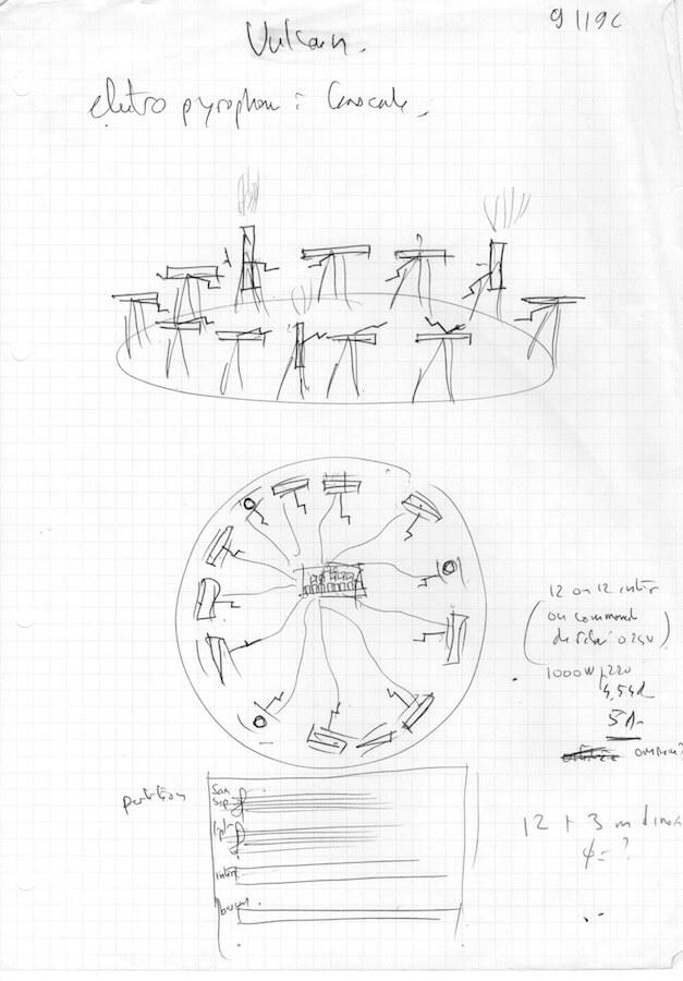 Dessin en perspective et vue du dessus avec annotation et partition de 12 «electropyrophones» à bascule, en cercle
