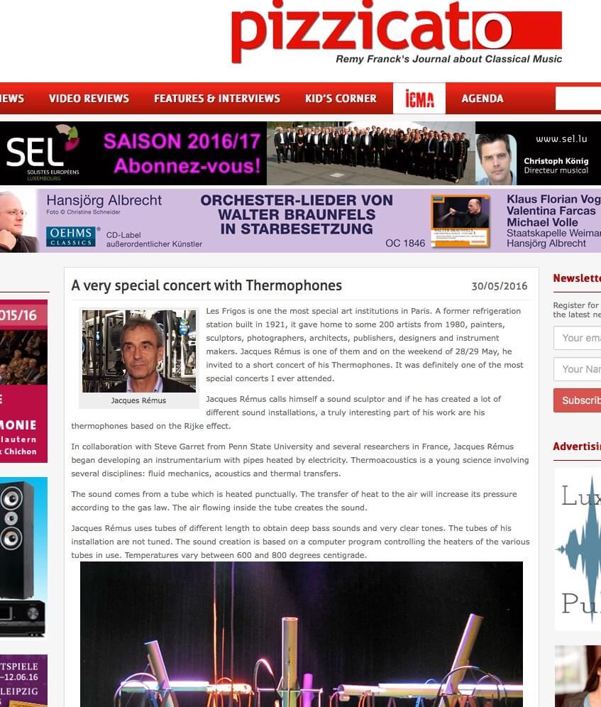 Article de presse avec photo Jacques Rémus et photo Thermophones