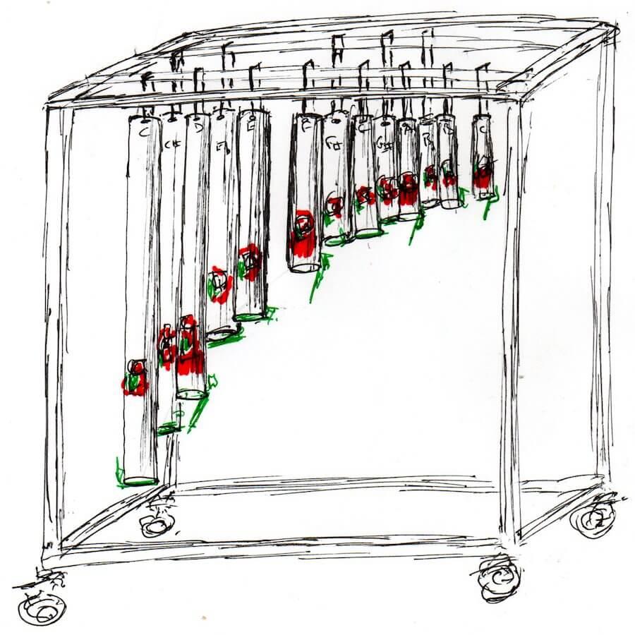 Dessin en noir sur fond blanc montrant 11 tubes verticaux de taille décroissante suspendus dans une cage