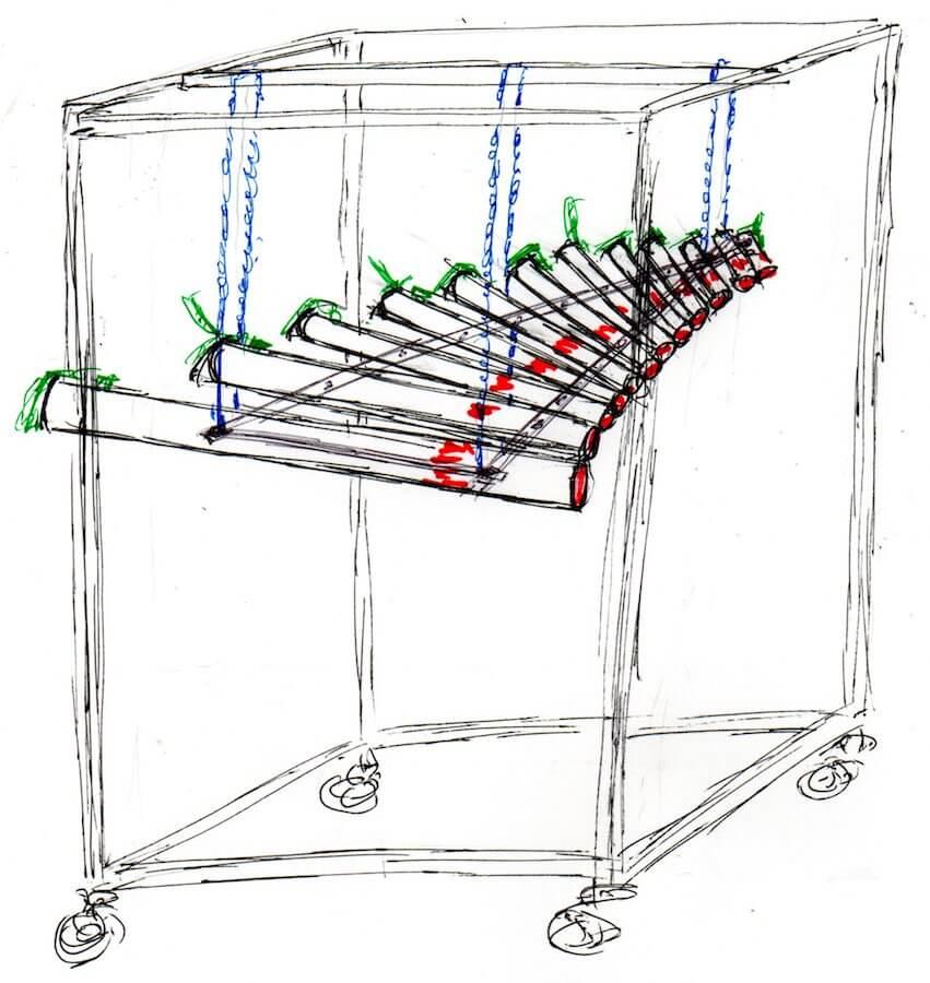 Dessin en noir sur fond blanc montrant 14 tubes horizontaux de taille décroissante suspendus dans une cage
