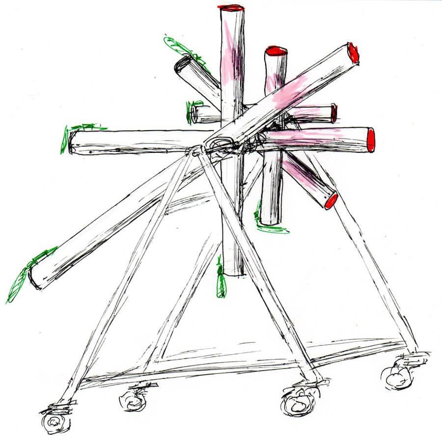 Dessin en noir sur fond blanc montrant 6 tubes inclinés dans toutes les directions de taille décroissante suspendus dans une cage, avec extrémités en rouge et noir