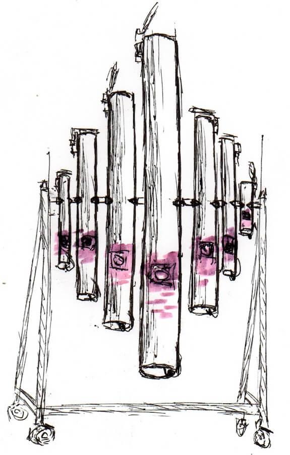 Dessin de tubes verticaux de tailles et diamètres differente