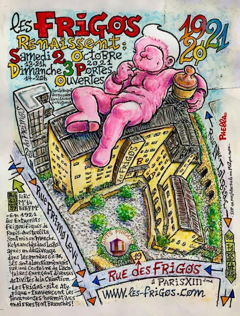 Affiche en couleurs avec un gros bébé rose allongé sur le bâtiment des Frigos